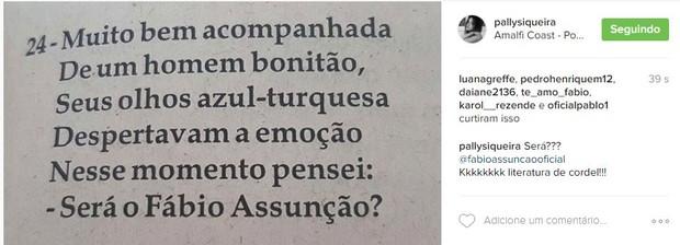 Foto postada por Pally Siqueira (Foto: Reprodução / Instagram)