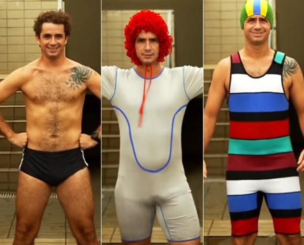 Andreoli experimenta roupas para treinar nado sincronizado (Foto: TV Globo)