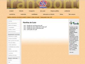 Site da Emdurb com informações sobre o transporte coletivo (Foto: Reprodução/Site oficial)