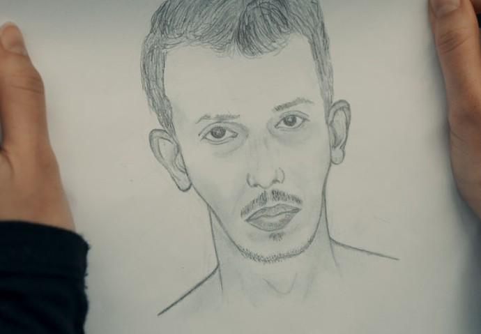 Desenhista faz retrato do homem que violentou Débora (Foto: TV Globo)