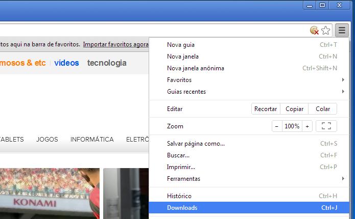 Acessando a opção de downloads do Chrome (Foto: Reprodução/Edivaldo Brito)