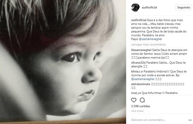 Sasha ganha homenagem de Luciano Szafir pelos 19 anos (Foto: Reprodução/Instagram)