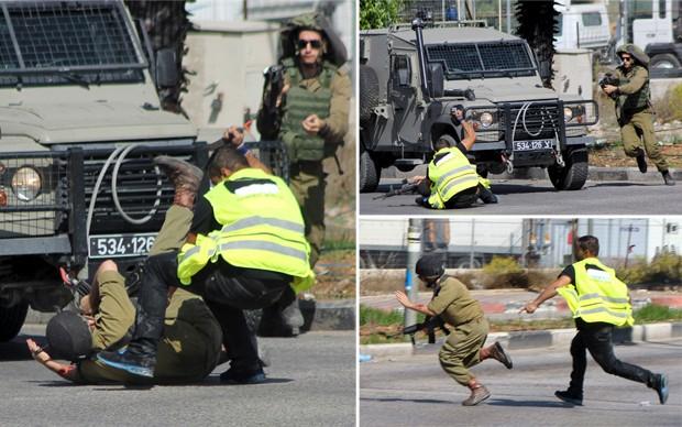[620] Combinação de fotos mostra ataque de um palestino disfarçado de jornalista a um soldado israelense com uma faca antes de ser morto a tiros perto da cidade de Hebrom, na parte sul do território ocupado por Israel  (Foto: Jameel Salhab/Reuters; Bilal al-Taweel/Reuters)