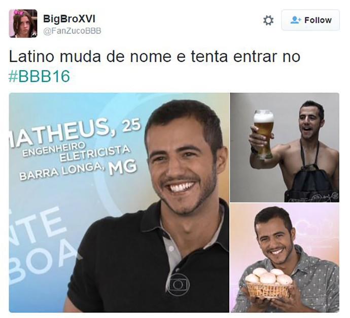 post bbb16 matheus latino (Foto: Reprodução Internet)