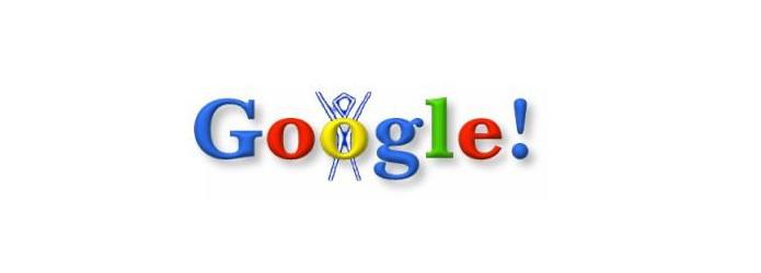 O primeiro Doodle apresentado pelo Google em 1998 para o festival The Burning Man (Foto: Reprodução/Google)