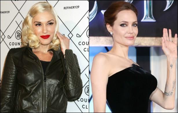 Lindas e famosas! A cantora Gwen Stefani (do No Doubt) e a atriz Angelina Jolie são tão unidas que, em 2006, Jolie deu à luz a filha Shiloh um dia depois de Stefani trazer o filho Kingston ao mundo. (Foto: Getty Images)