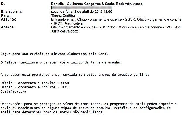 Trecho de e-mail sobre edital do Distrito Federal (Foto: Reprodução)