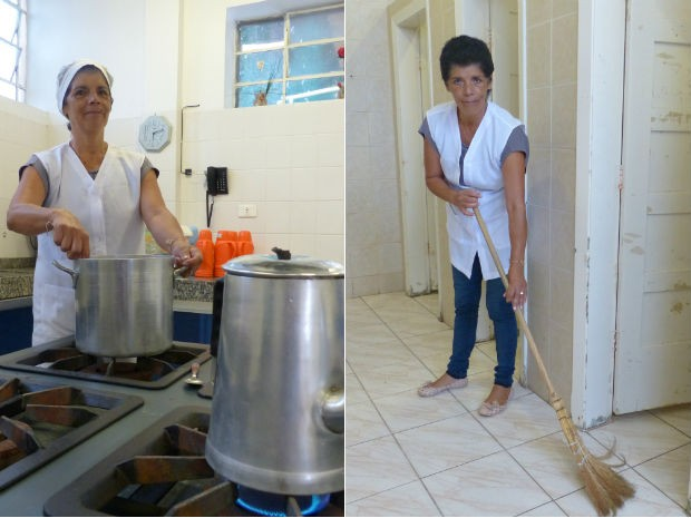 Em um Colégio de Curitiba, merendeira também faz trabalho de limpeza por causa da falta de funcionários  (Foto: Adriana Justi / G1)