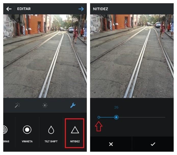Ferramenta ajusta a nitidez da foto no Instagram (Foto: Reprodução/Lívia Dâmaso)