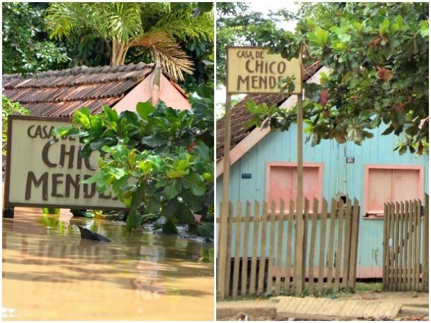 Casa de Chico Mendes quando ficou submersa pelas águas do Rio Acre em Xapuri e agora depois da cheia (Foto: Aline Nascimento/G1 e Quésia Melo/GE)