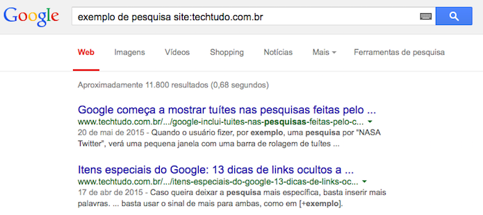 Realizando uma busca no conteúdo do TechTudo (Foto: Reprodução/Helito Bijora)