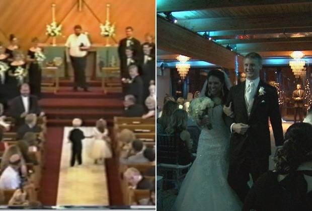 O casal Brittney e Briggs Fussy levando as alianças, em 1995, e no próprio casamento, no último dia 10 (Foto: Reprodução / Fox News e Facebook)