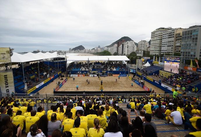 Arena do evento-teste de vôlei de praia em Copacabana (Foto: Buda Mendes / Getty Images)