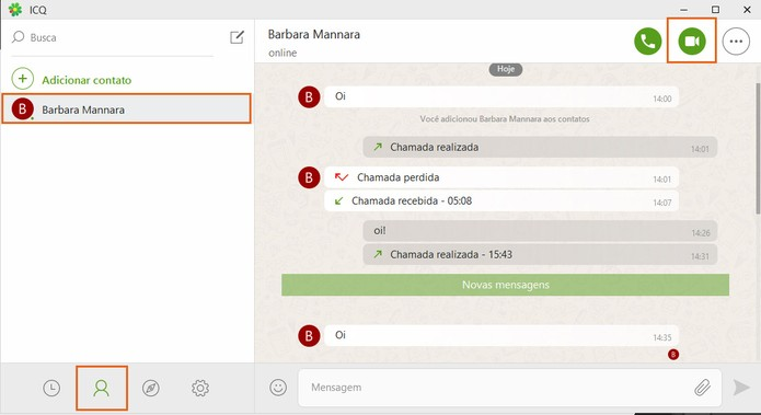 Inicie a chamada de vídeo com seu contato no ICQ pelo PC (Foto: Reprodução/Barbara Mannara)