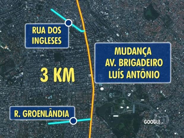 Mapa das obras na Avenida Brigadeiro Luis Antônio (Foto: TV Globo/Reprodução)