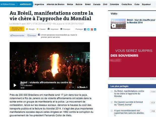 Jornal francês fala em protestos num Brasil que sediará a Copa do Mundo (Foto: Reprodução/ Le Monde)