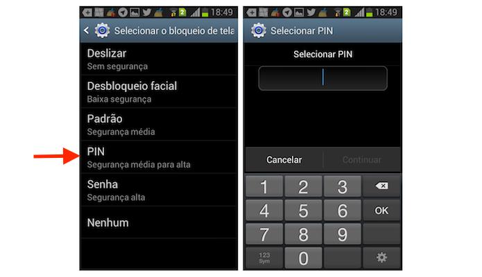Acessando a configuração de PIN para tela de bloqueio do Galaxy Gran Duos (Foto: Reprodução/Marvin Costa)