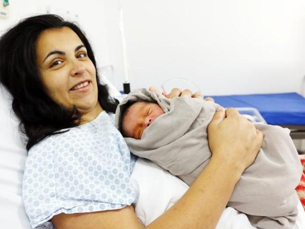 Flávia Dias deu à luz um menino em Itupeva (Foto: Prefeitura de Itupeva/Divulgação)