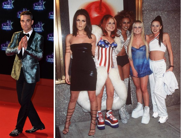 O cantor Robbie Williams e as Spice Girls (Foto: Getty Images)