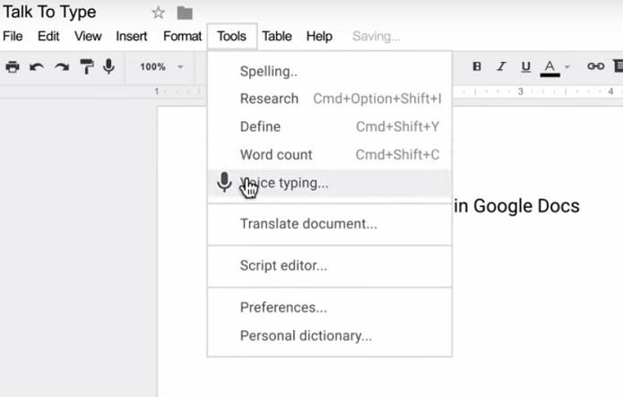 Usuário poderá ditar palavras para serem inseridas no documento (Foto: Reprodução/Youtube)