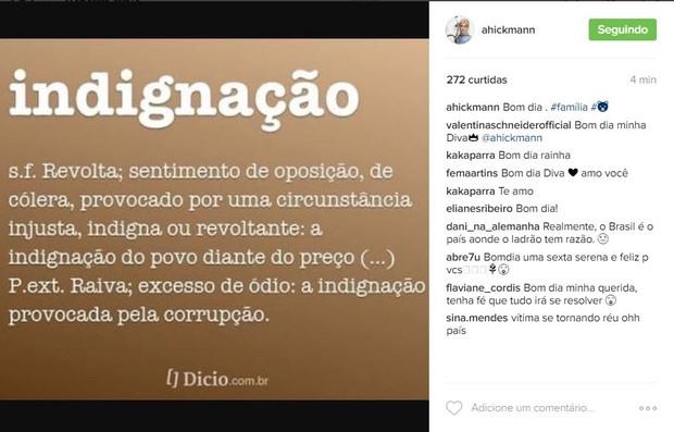 Ana Hickmann faz post de indignação (Foto: Reprodução / Instagram)
