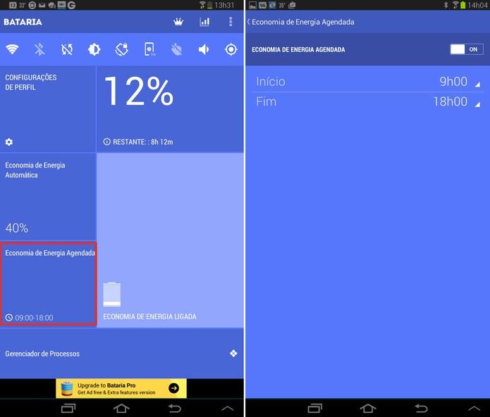 Com app Bataria, usuário pode economizar a bateria do dispositivo por um tempo determinado, usando o agendamento de energia. Foto: Reprodução/Luciana Vieira