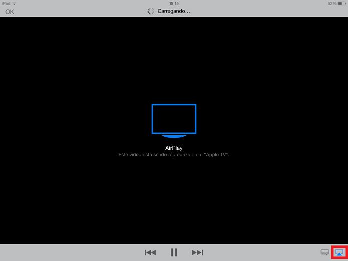 iPad enviando o filme para Apple TV (Foto: Reprodução/Edivaldo Brito)
