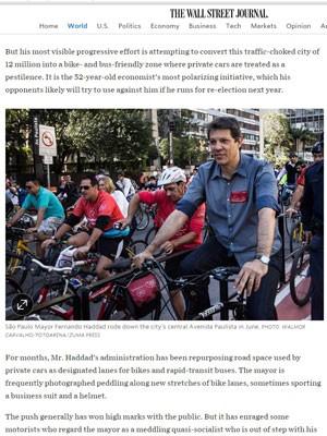 Reportagem do The Wall Street Journal destaca a gestão Haddad em SP (Foto: Reprodução/WSJ)