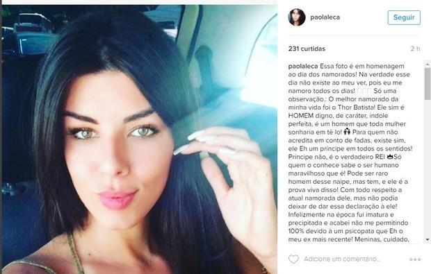 Paola Leça se declara a Thor Batista (Foto: Reprodução/Instagram)