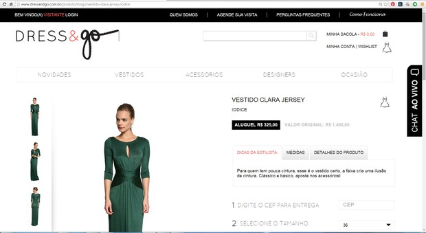 Print Site Dress & Go (Foto: Reprodução / Internet)