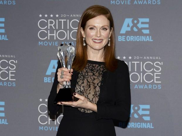 """Julianne Moore venceu a categoria de melhor atriz com """"Para sempre Alice"""" no 20º Critics' Choice Movie Awards, em Los Angeles (Foto: REUTERS/Kevork Djansezian)"""