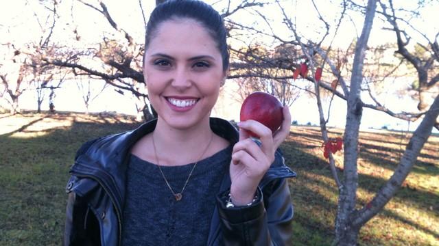 Em São Joaquim, equipe acompanhou a produção da maçã (Foto: Jordana Pires/Arquivo pessoal)
