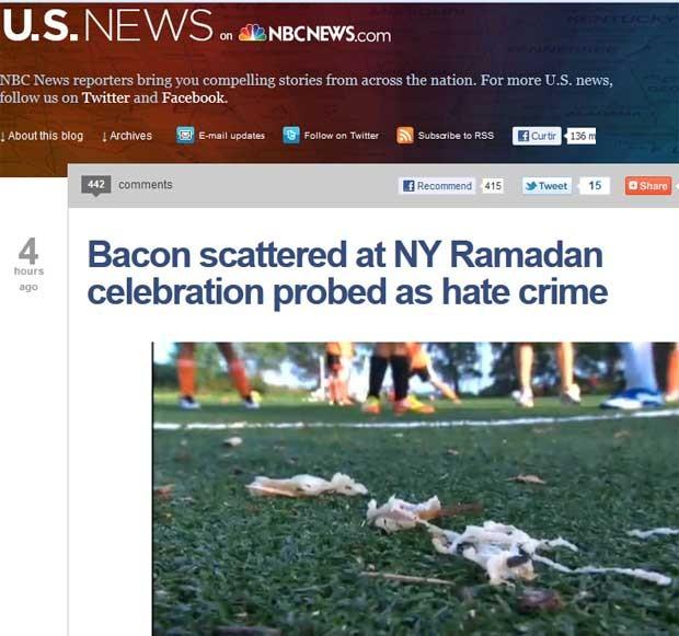 Bacon deixado em parque durante celebração do fim do Ramadã neste domingo (19) (Foto: Reprodução)