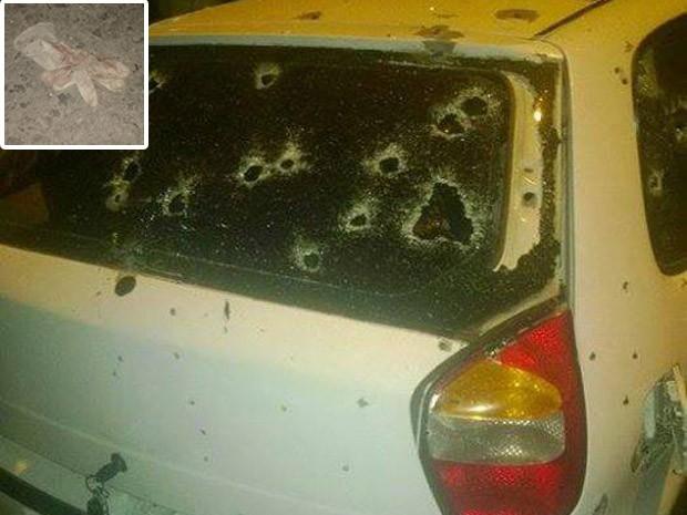 Luvas e pistola foram encontradas ao lado de carro metralhado; chave estava no porta-malas (Foto: Guadalupe News)