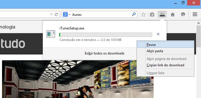 Pause o download logo no início (Foto: Reprodução/Helito Bijora)
