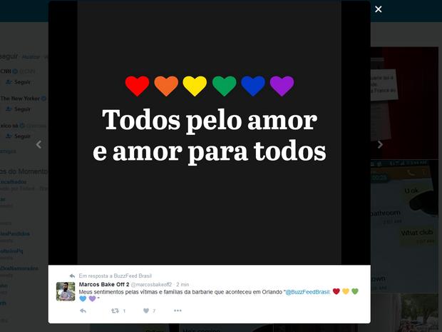 Internauta presta homenagem às vítimas do atentado que matou mais de 50 pessoas em Orlando (Foto: Reprodução/Twitter)