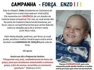 Campanha 'Eu luto pelo Enzo' circula na internet (Foto: Reprodução/ Facebook)