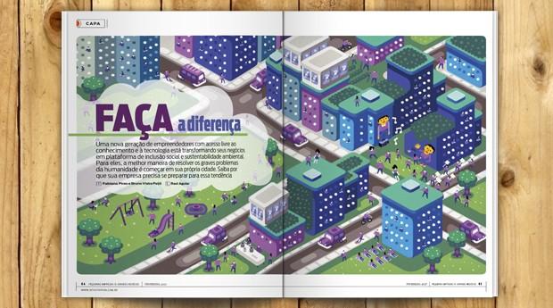 Matéria de capa fala sobre os negócios que querem ter impacto na região em que estão (Foto: PEGN)