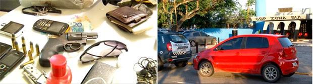 Material apreendido e carro recuperado foram levados para a Delegacia de Plantão da Zona Sul de Natal (Foto: Reprodução/Inter TV Cabugi)