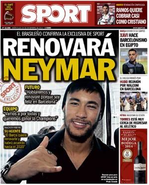 """Capa do jornal """"Sport"""" com Neymar (Foto: Reprodução)"""