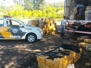 Drogas e armas estavam junto com a carga de frango congelado  (Foto: Polícia Rodoviária / Divulgação)