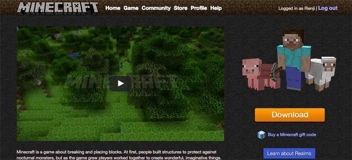 Acesse o site de Minecraft (Foto: Reprodução/Felipe Vinha)
