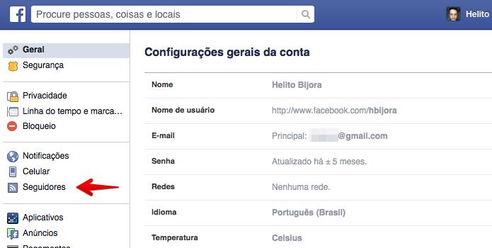 Abra as configurações de seguidores (Foto: Reprodução/Helito Bijora)