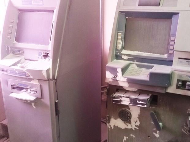 Caixas eletrônicos foram arrombados na manhã deste domingo (2) (Foto: Divulgação/Polícia Militar do RN)