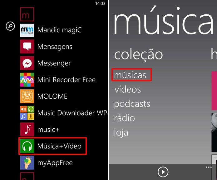 Nokia Lumia pode enviar músicas através do aplicativo Musica+Video do Windows Phone (Foto: Reprodução/Elson de Souza)