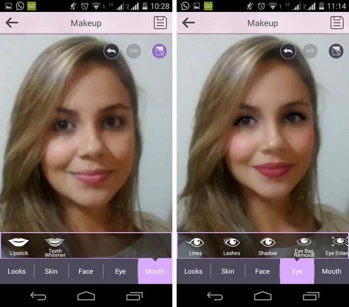 Antes e depois da edição no YouCam Makeup (Foto: Reprodução/ Marcela)