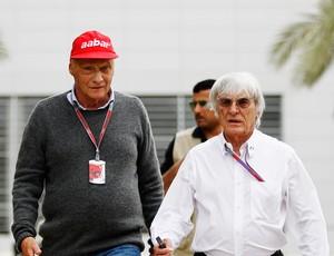 Niki Lauda e Bernie no GP do Bahrein (Foto: Getty Images)