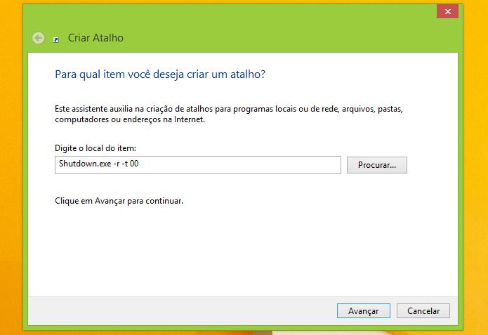 Colocando o comando que faz o Windows reiniciar (Foto: Reprodução/Edivaldo Brito)