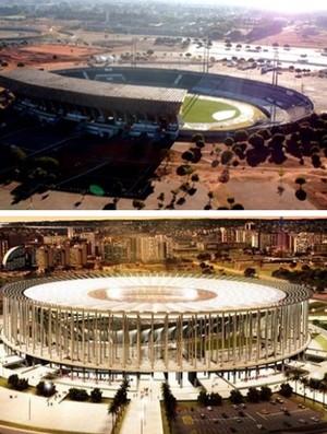 montagem antigo e novo Mané Garrincha (Foto: Divulgação)