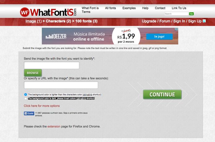 WhatFontIs, identifica via web e extensão para navegadores (Foto: Reprodução/André Sugai)